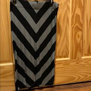 Grey and black striped pencil skirt